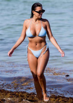 Devin Brugman in Blue Bikini on the beach in Miami