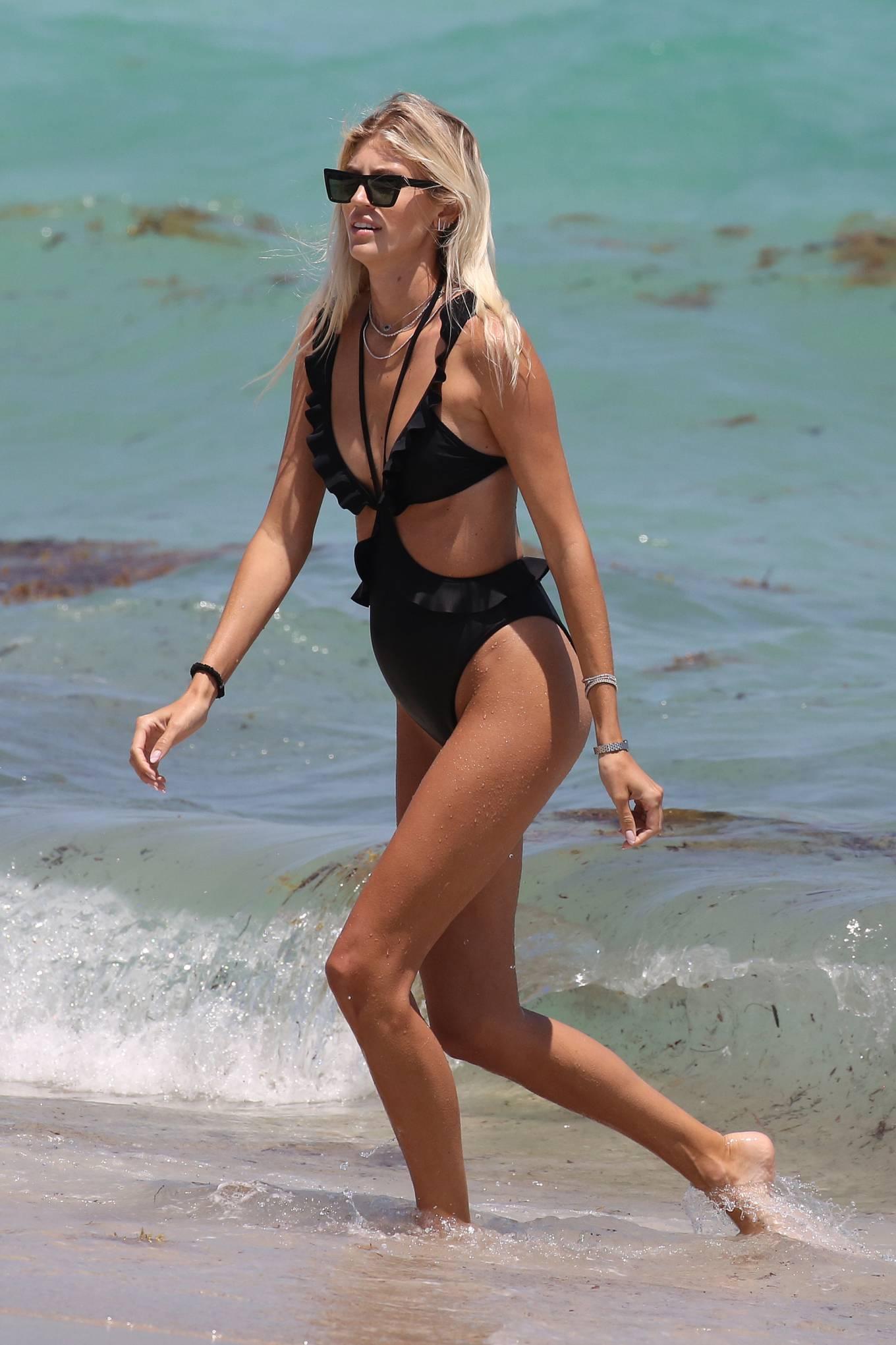 Devon Windsor 2021 : Devon Windsor – In black swimsuit hits the beach in Miami-16