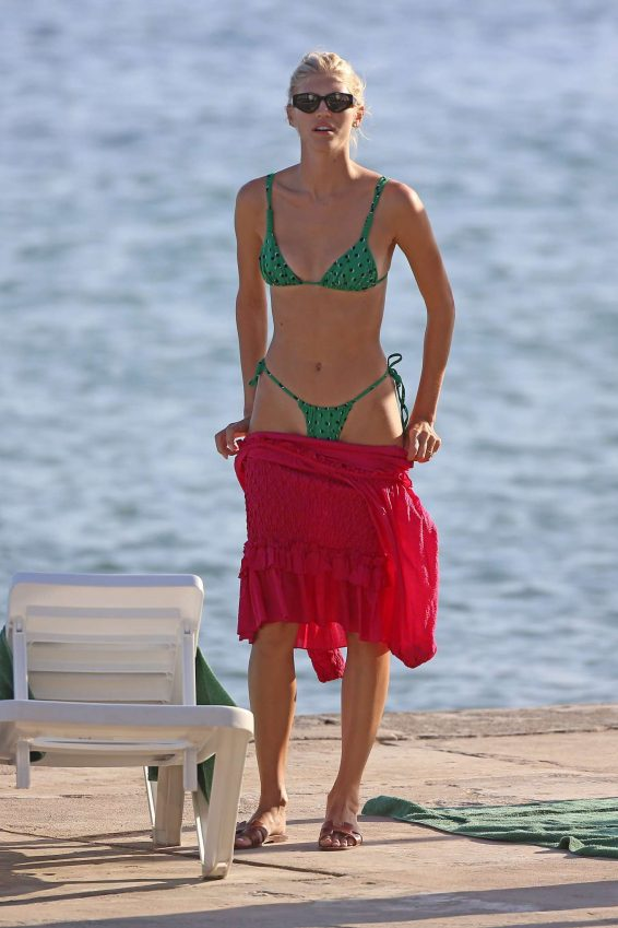 Devon Windsor in Green Bikini at a beach in Ibiza