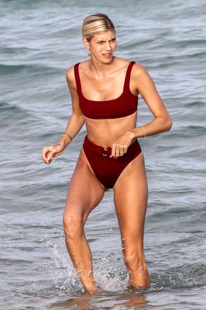 Devon Windsor in Red Bikini on Miami Beach