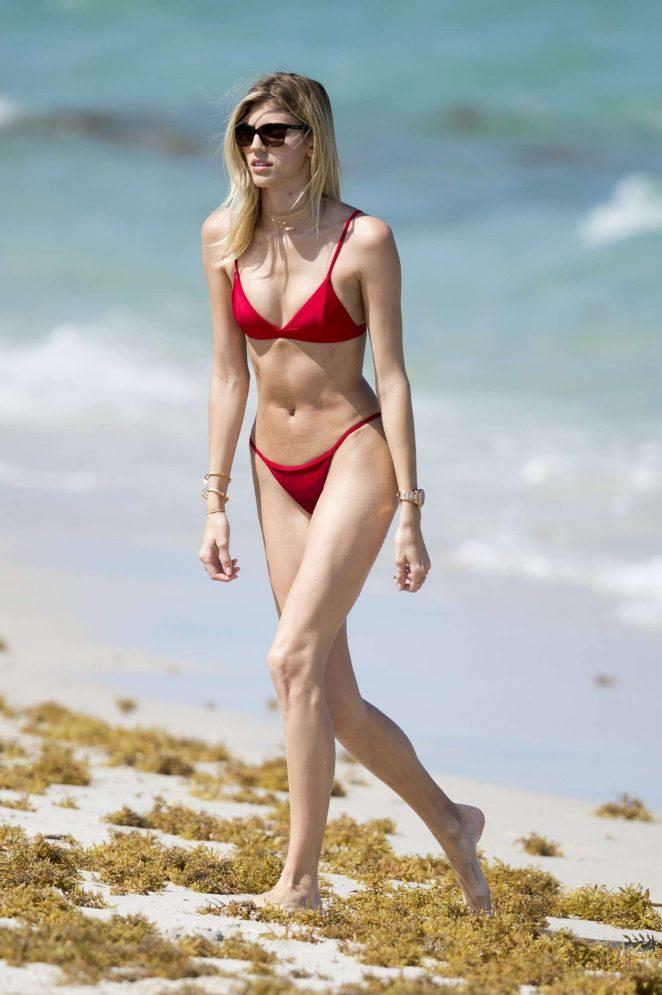 Devon Windsor in Red Bikini on the Beach in Miami