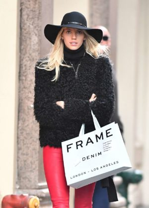 Devon Windsor in Red Leather - Shopping in NYC