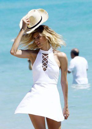 Devon Windsor in White Mini Dress Photoshoot at Miami Beach