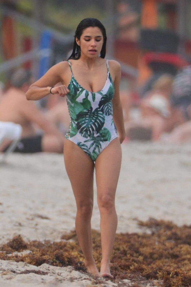 Diane Guerrero in Swimsuit at the beach in Miami