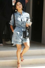 Diane Guerrero - Wears a denim dress in New York