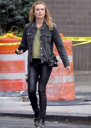 Diane Kruger in black leather pants in LA