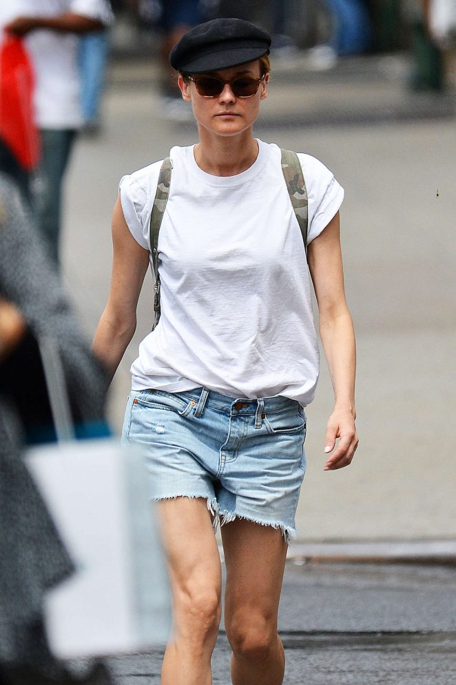 Diane Kruger in Denim Shorts out in New York City