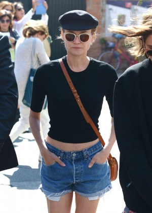 Diane Kruger in Denim Shorts out in Venice