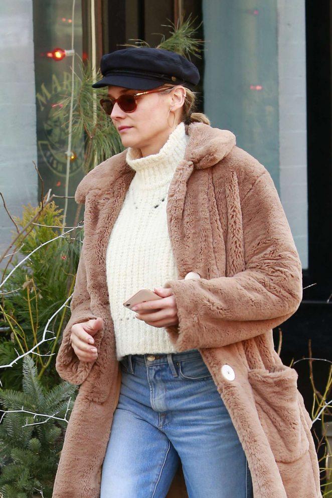 Diane Kruger in Fur Coat out in New York