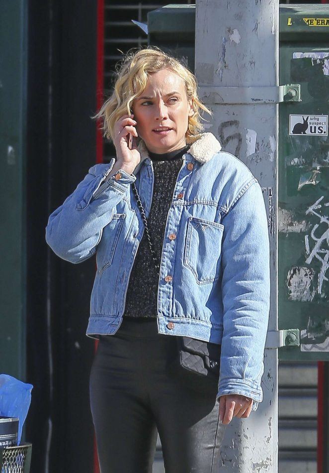 Diane Kruger in Leather Pants out in NYC