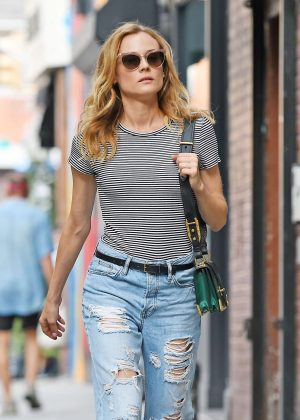 Diane Kruger in Ripped Jeans out in New York