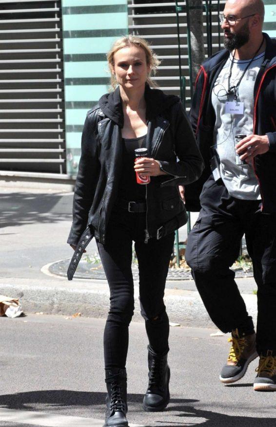 Diane Kruger - On set of '355' in Paris