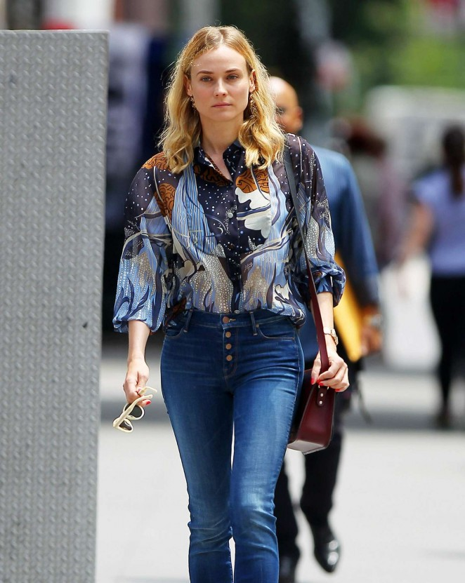 Diane Kruger in Jeans Out for a walk in New York