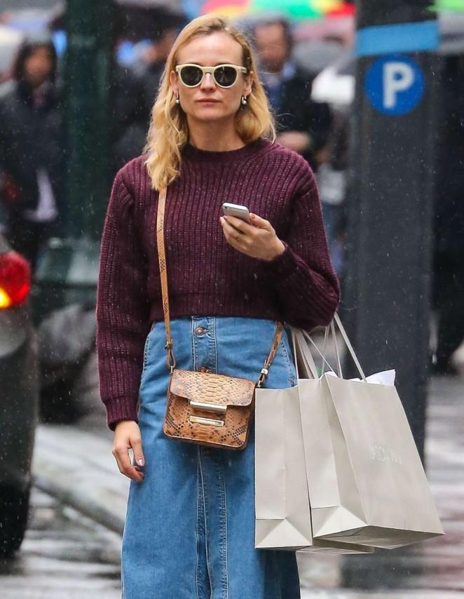 Diane Kruger in Jeans Skirt -01