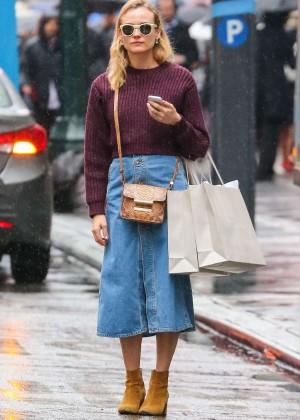 Diane Kruger in Jeans Skirt Shopping in New York