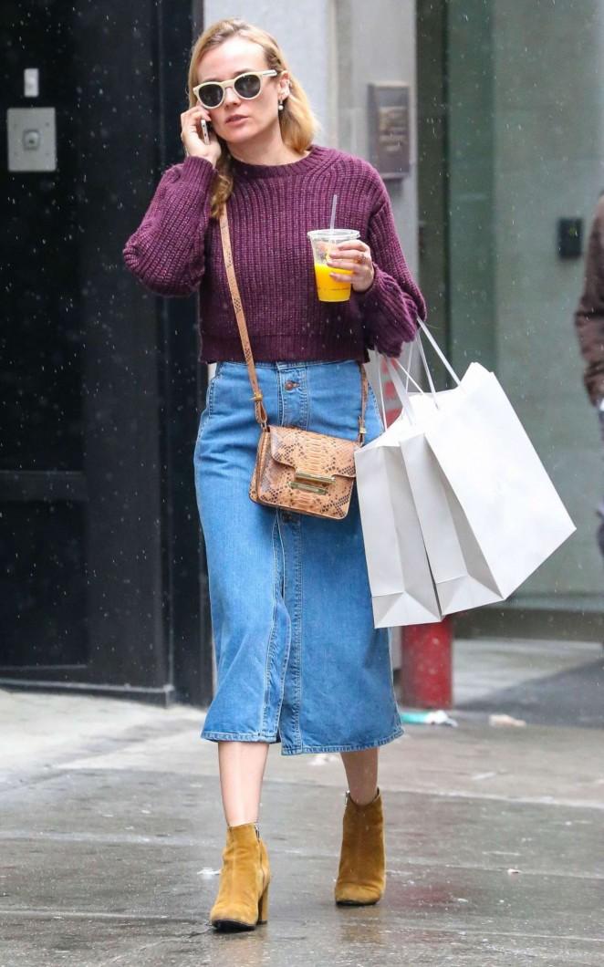 Diane Kruger in Jeans Skirt -04