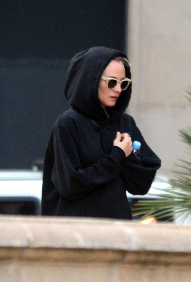 Diane Kruger wearing a hoodie out in Barcelona