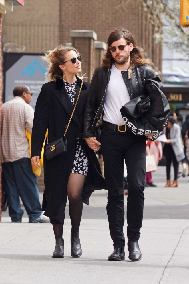 Dianna Agron and her fiance Winston Marshall out in SoHo