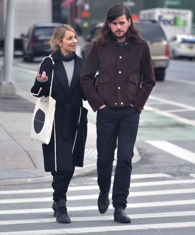 Dianna Agron and Winston Marshall walking in Soho