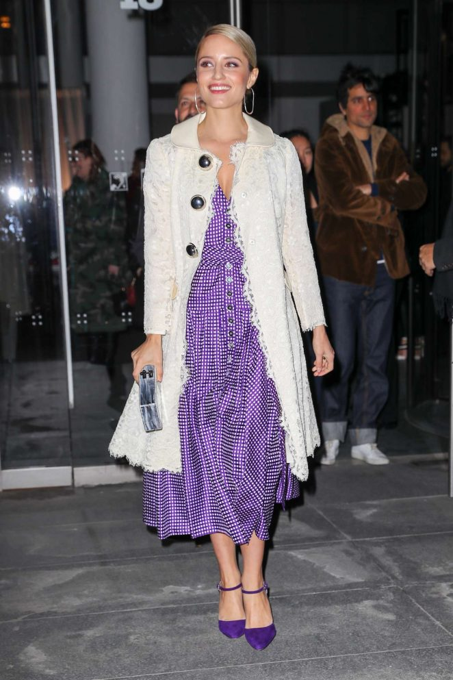 Dianna Agron - Arriving at the Carolina Herrera Fashion Show 2018 in NY