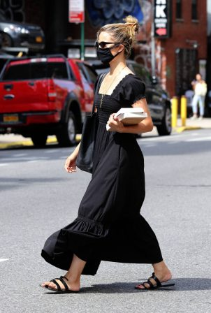 Dianna Agron - In black maxi dress out in NYC
