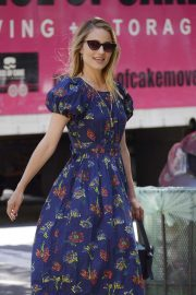 Dianna Agron in Blue Floral Dress - Out in New York City