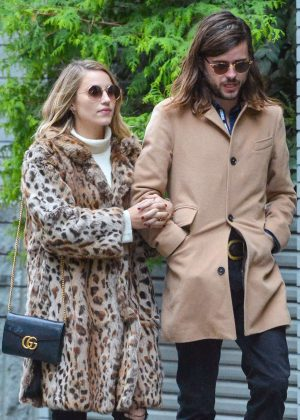 Dianna Agron in Leopard Print Coat out in Manhattan
