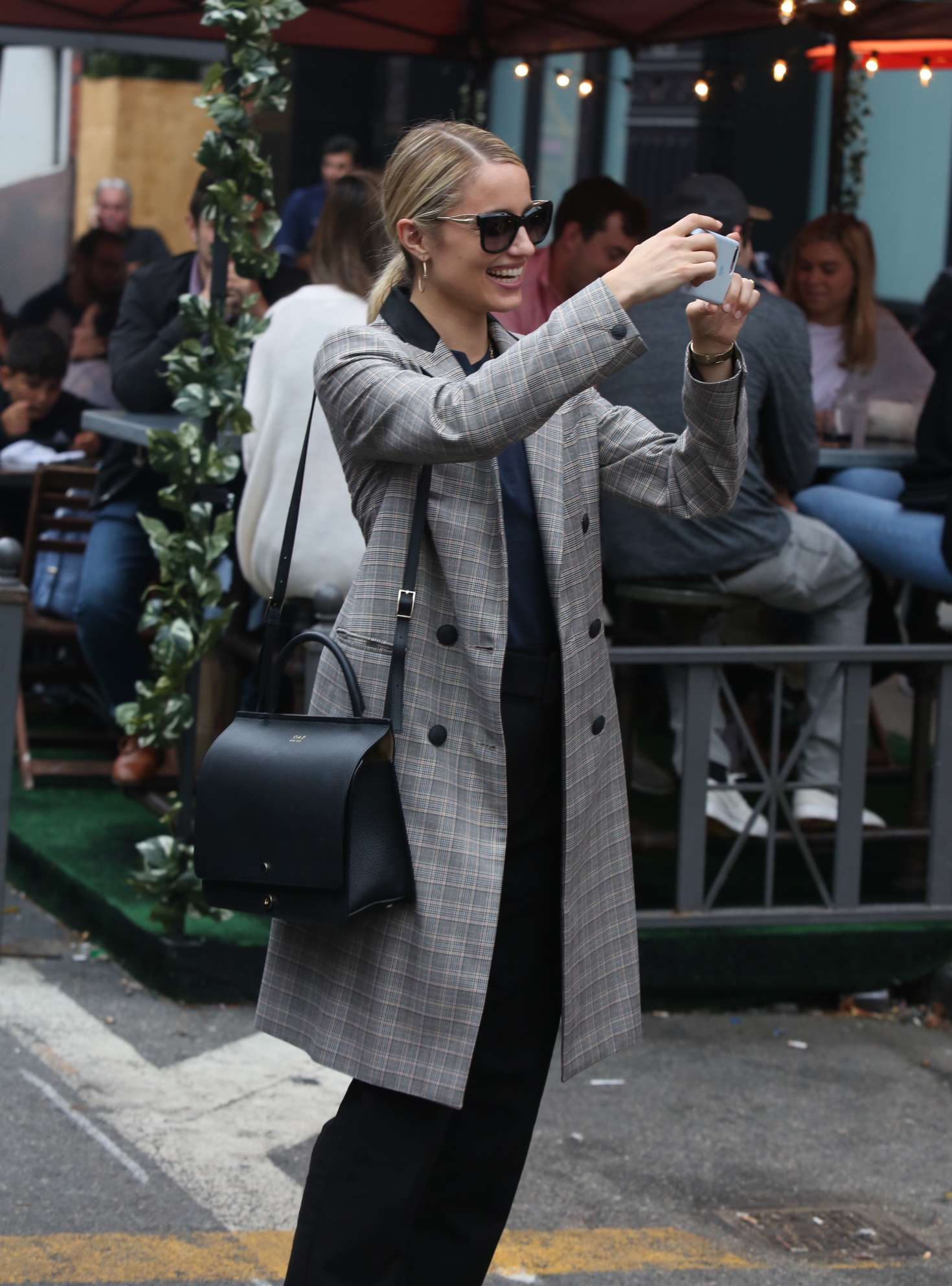 Dianna Agron in Long Coat - Out in New York