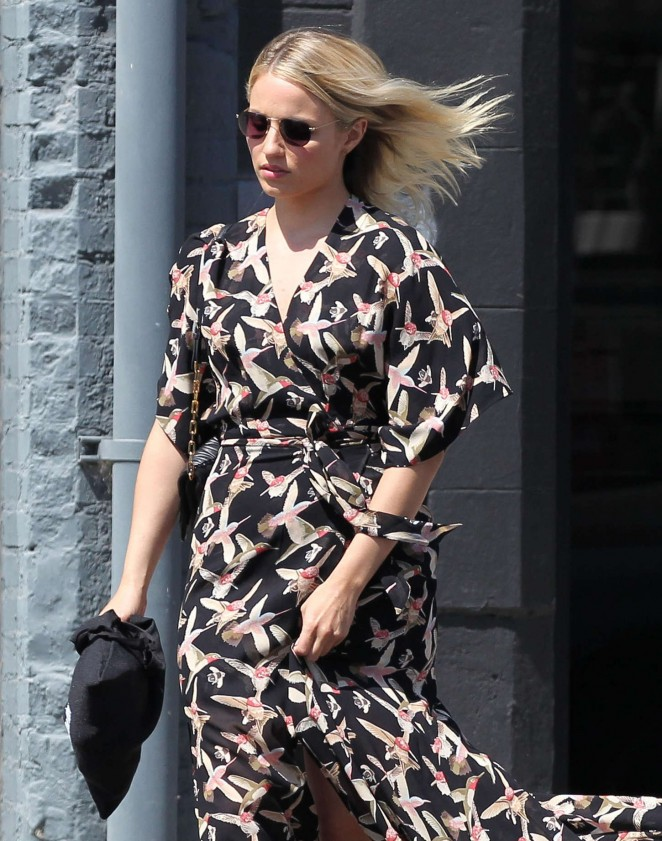 Dianna Agron in Long Dress Out in LA