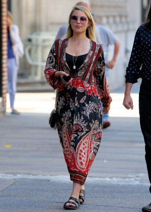 Dianna Agron in Long Dress Out in New York