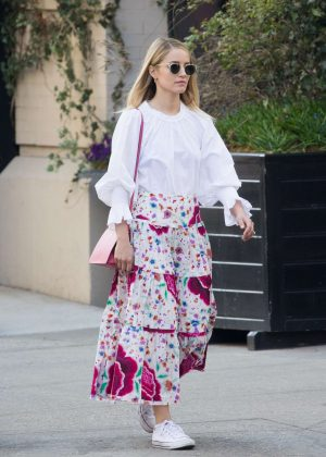 Dianna Agron in long floral skirt out in Soho