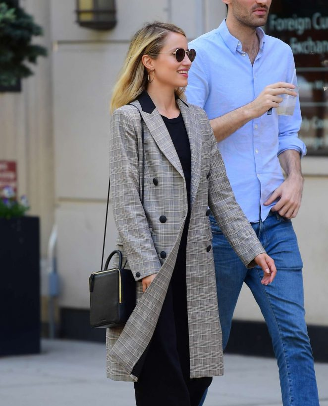 Dianna Agron in Plaid Jacket at Bar Pitti in New York City