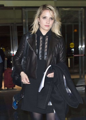 Dianna Agron in Mini Dress at JFK airport in NYC
