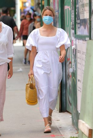 Dianna Agron - seen in white cotton dress in Soho in New York City