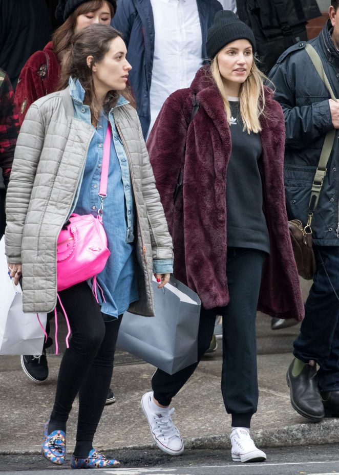 Dianna Agron with friends out in New York City