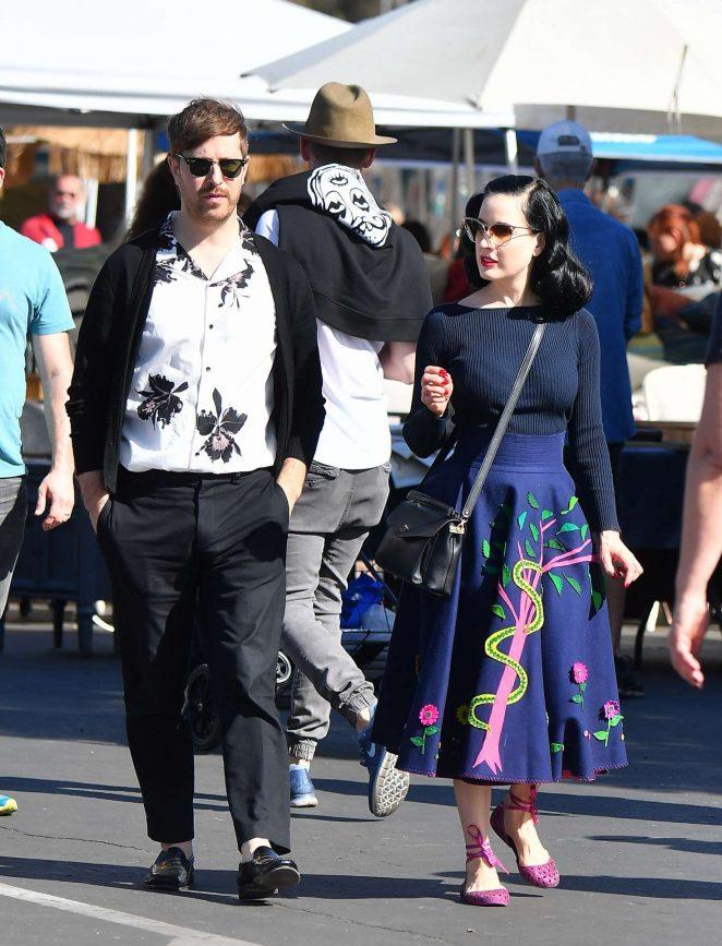 Dita von Teese and boyfriend Adam Rajcevich - Shopping in Los Angeles
