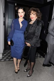 Dita Von Teese and Joan Collins have dinner at Craig's in West Hollywood