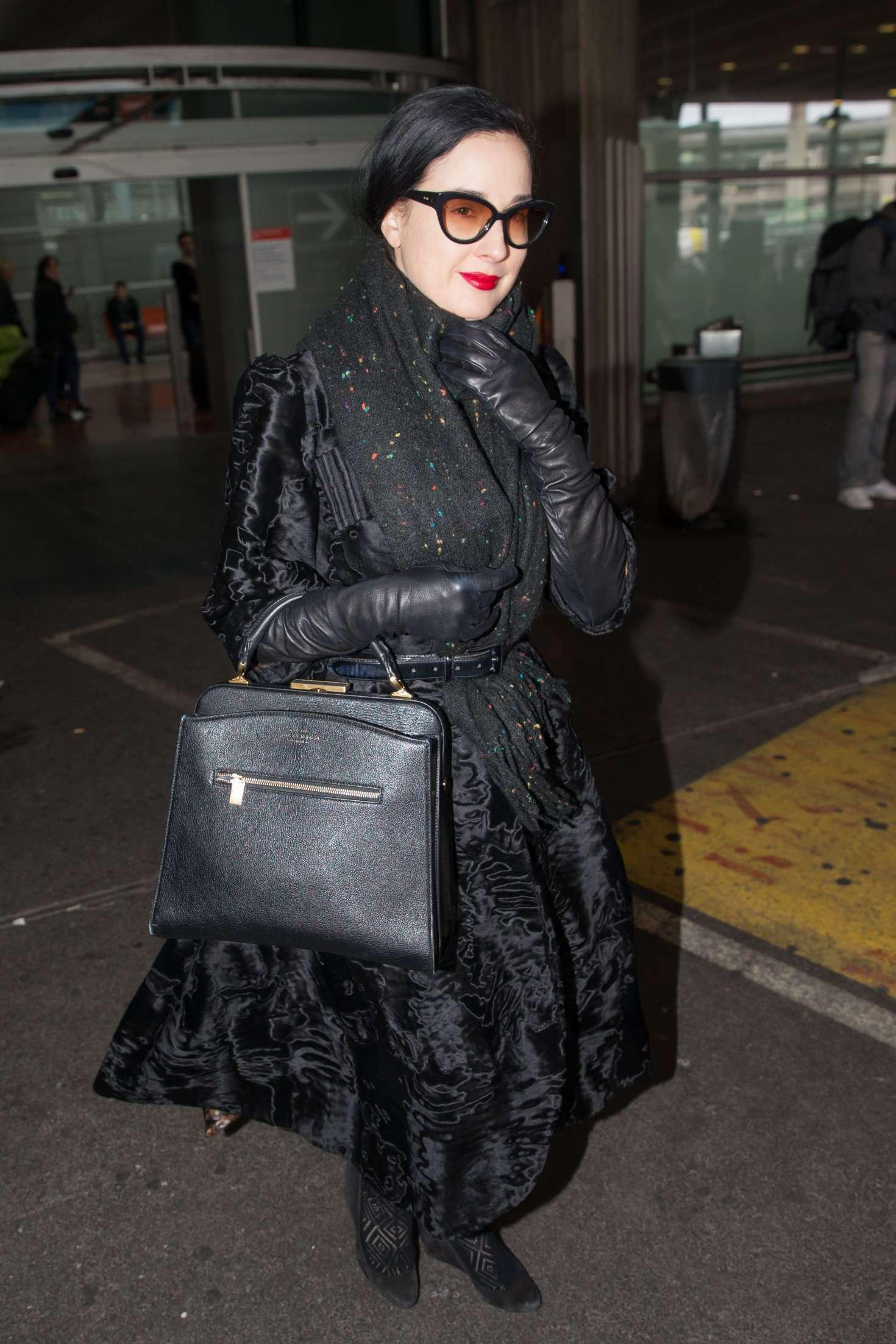 Dita Von Teese arrives at Charles de Gaulle Airport in Paris