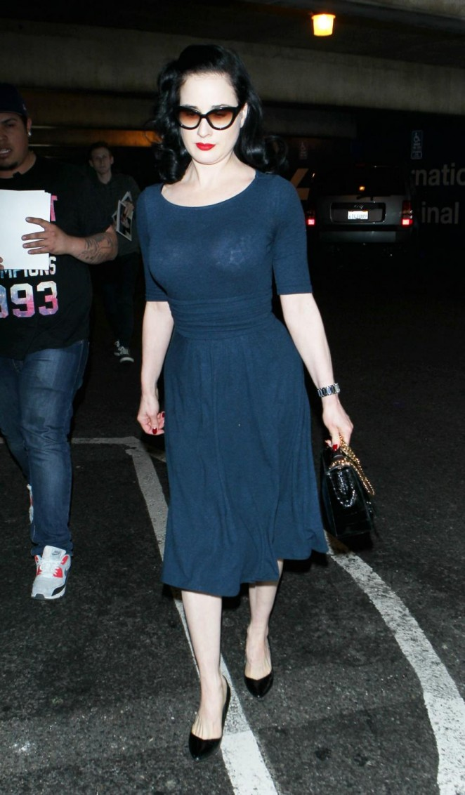 Dita Von Teese - Arrives at LAX Airport in LA