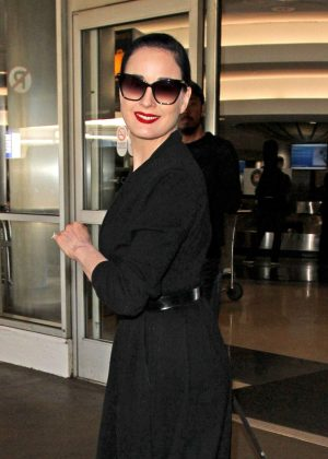 Dita Von Teese Arrives at LAX Airport in Los Angeles