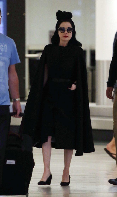 36b2658c6527 Dita Von Teese at airport in Perth