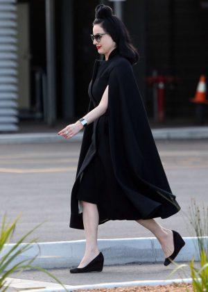 Dita Von Teese at airport in Perth
