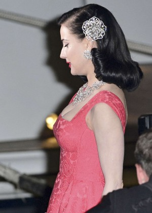 Dita Von Teese in Red Dress at private party in Cannes  Dita