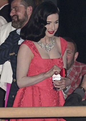 Dita Von Teese in Red Dress at private party in Cannes