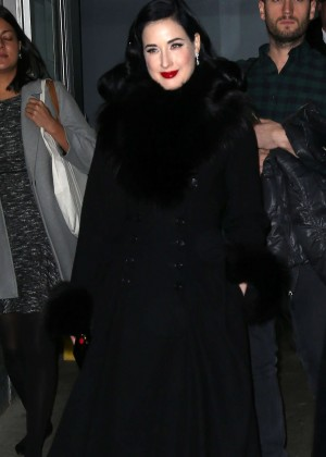 Dita Von Teese - Coming out of 'Huff Post Live' in New York