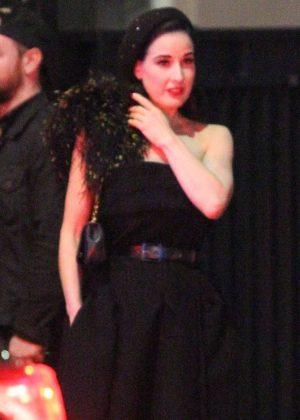 Dita Von Teese - Exits Marilyn Manson's 50th birthday in Hollywood