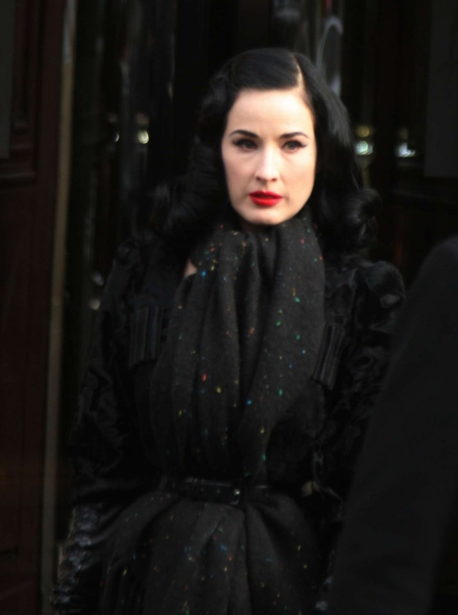 Dita von Teese - Leaves the Hotel Fouquet's Barriere in Paris