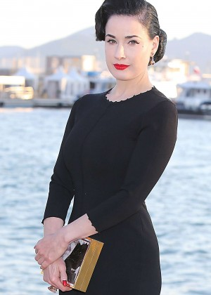 Dita Von Teese in Black Dress out in Cannes