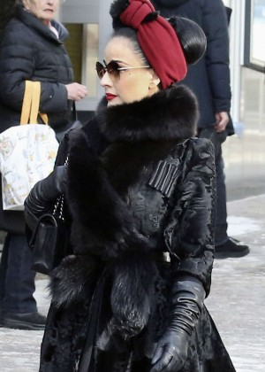 Dita Von Teese - Shopping at the Valentino Store in St Moritz