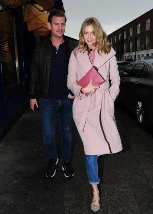 Donna Air and her boyfriend Ben Carrington - Leaving Scalini Restaurant in London